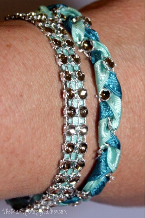 a Pair of Unique Handmade Bracelets with Bling on a Roll