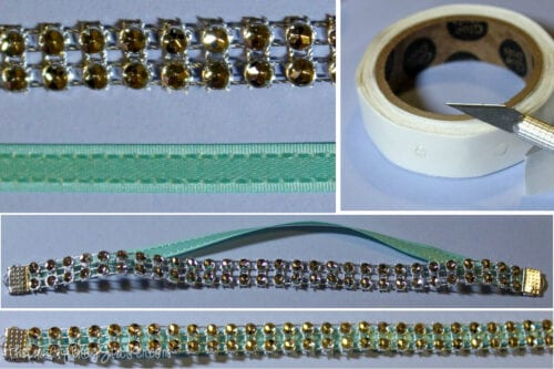 layering bling and ribbon to make a bracelet