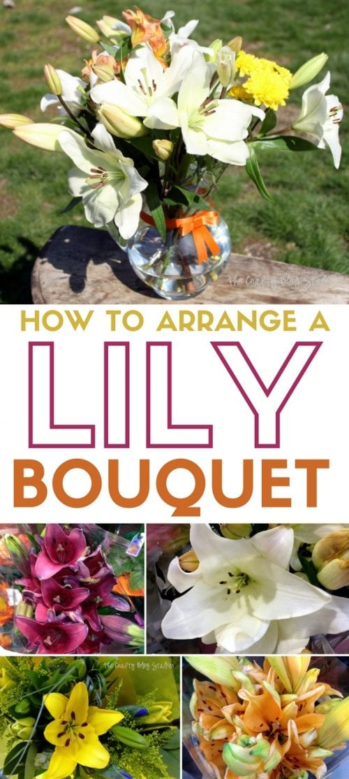 header image for how to arrange a lil bouquet with the finished arrangement and 4 different lily choices