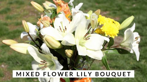 simple mixed flower lily bouquet
