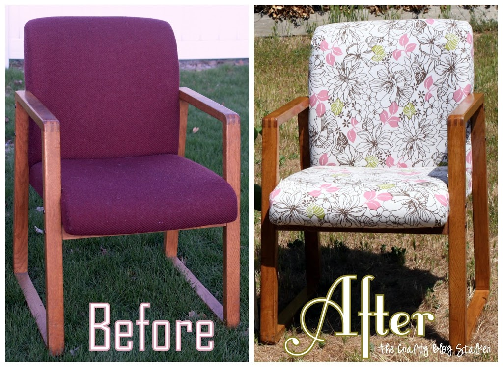 Cover an old and ugly office chair to give it new life. This chair transformation was so fun to do and all it needed was some new fabric and stain.