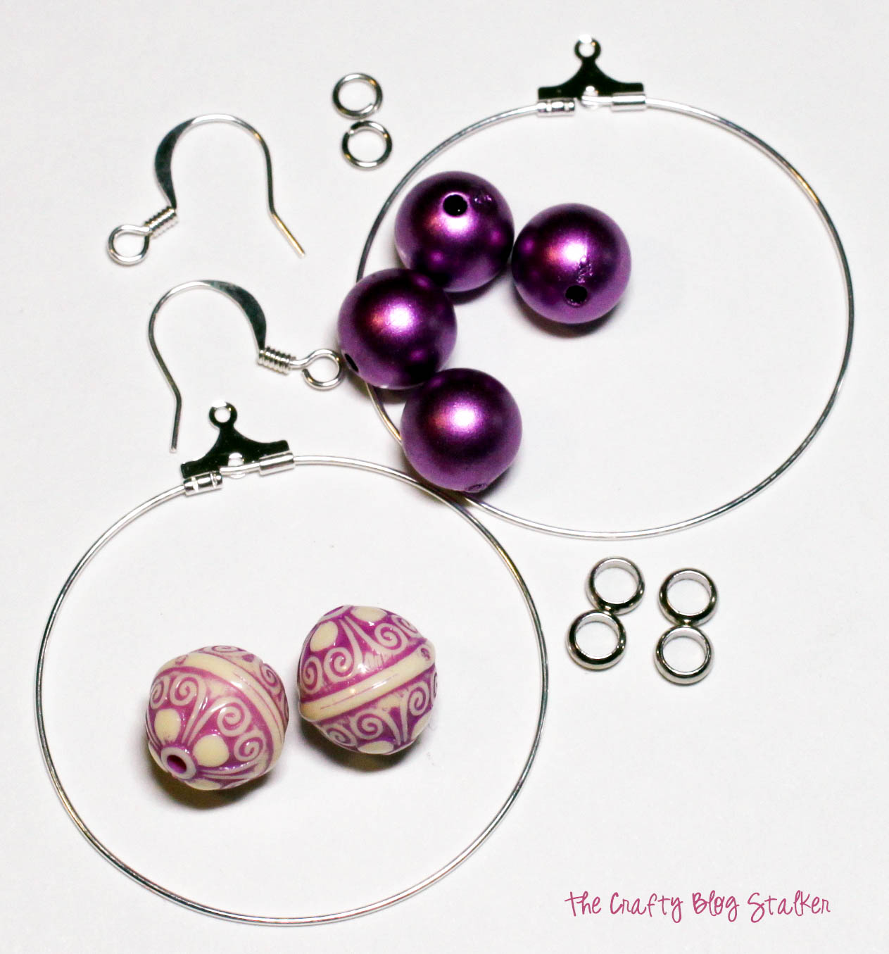 image showing supplies used to Make Large Beaded Hoop Earrings