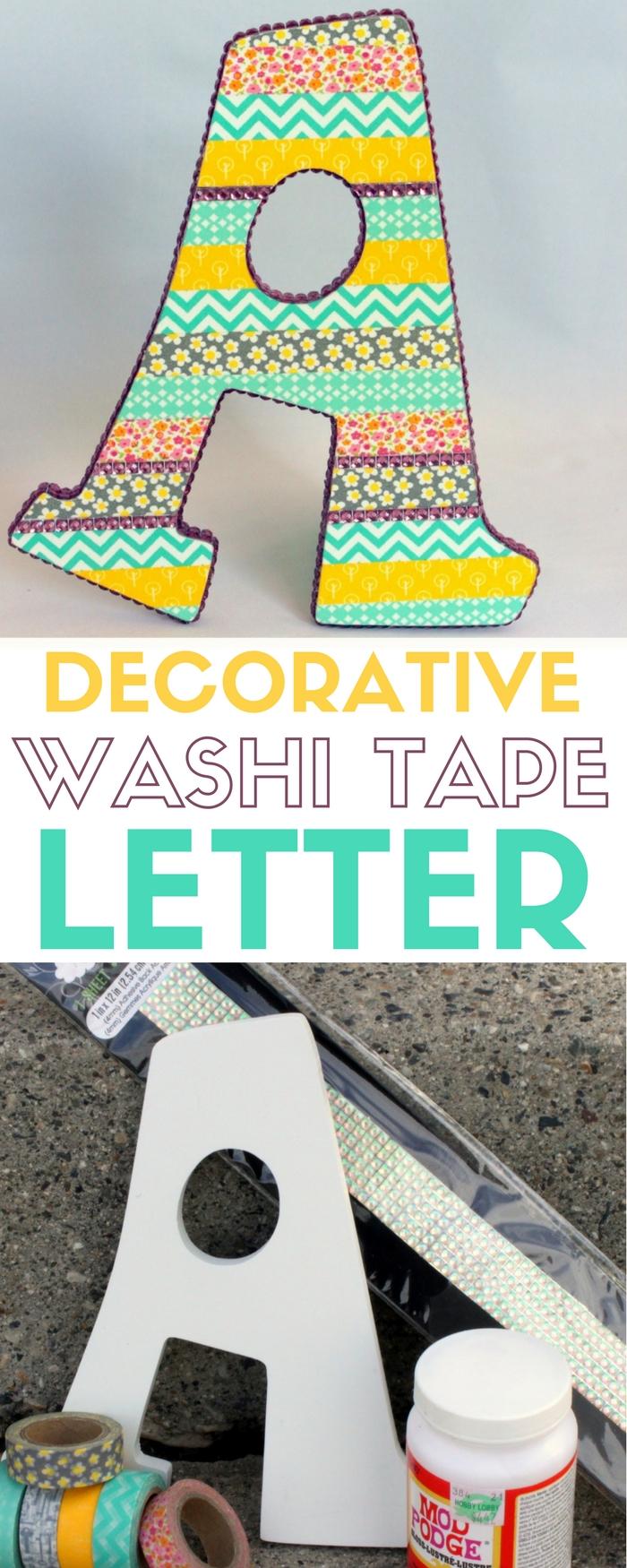 Decorative Washi Tape Letter | Monogram | Mod Podge | Gemz | DIY Crafts | Home Decor