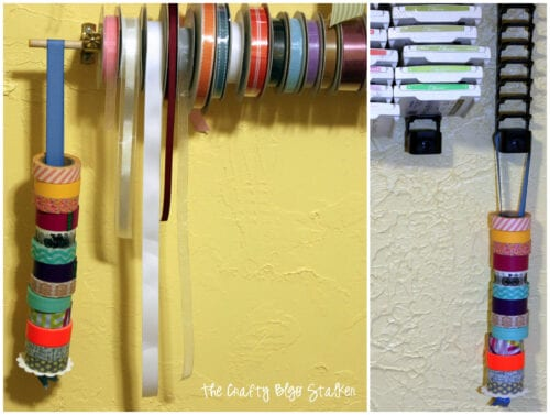 image of washi tape hanging on the DIY washi tape holder