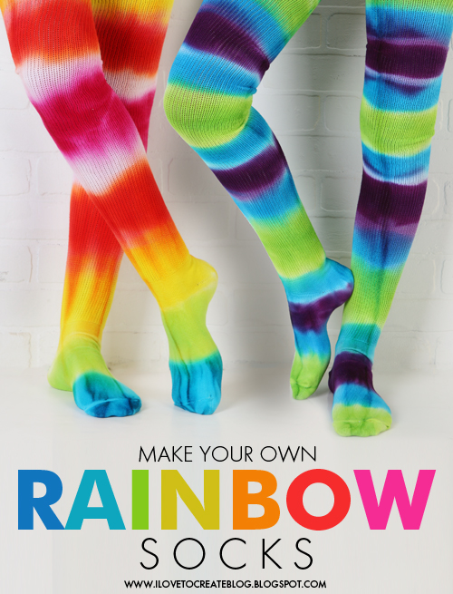 20 Sock Craft Ideas to make with Mismatched Socks featured by top US craft blog, The Crafty Blog Stalker: make tie dye rainbow socks