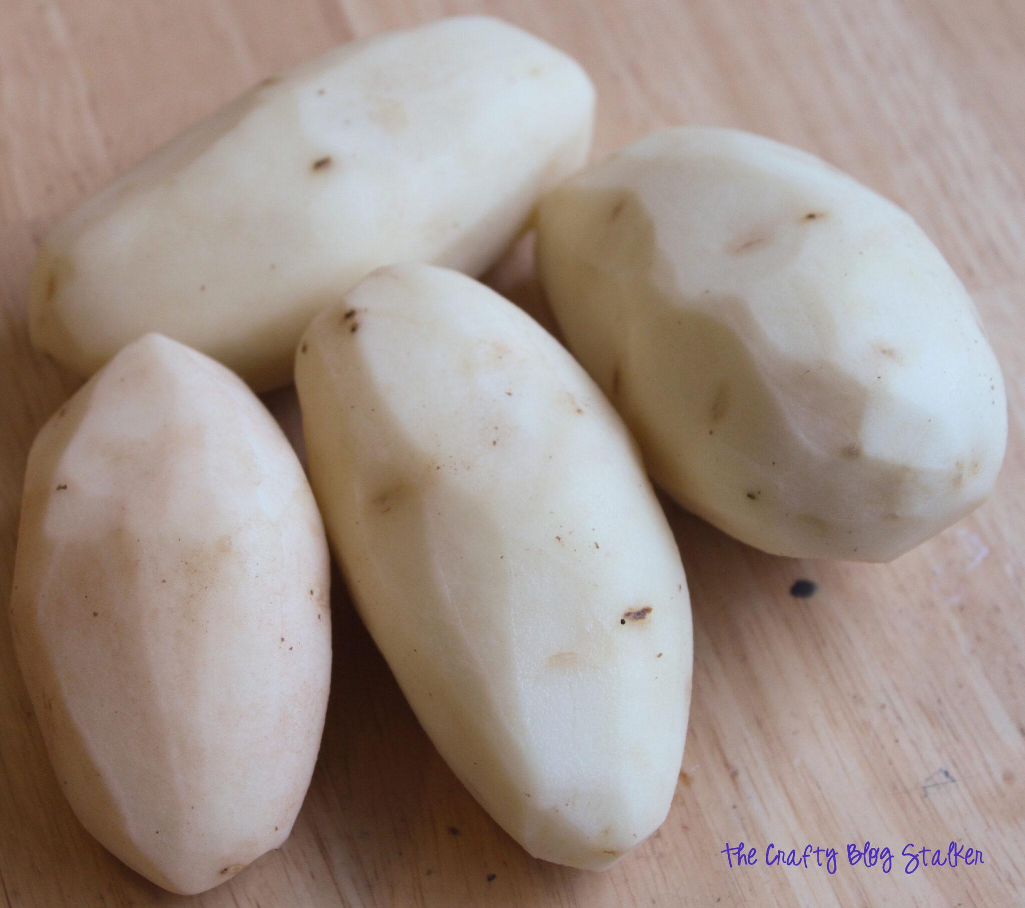 image of peeled potatoes