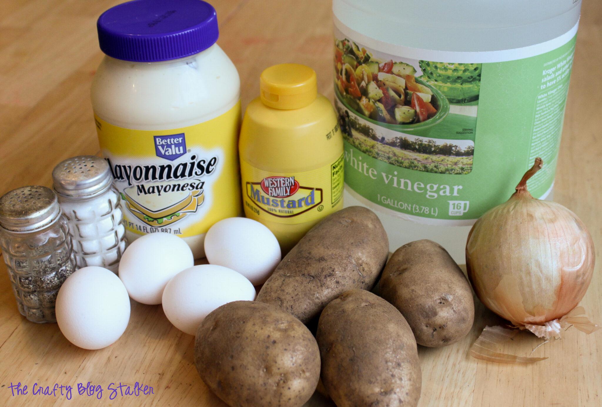 image of ingredients for potato salad