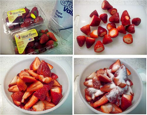 preparing the strawberries to make sauce