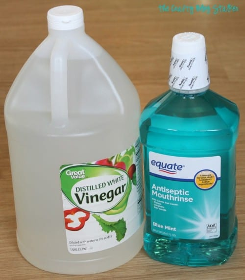 bottle of distilled white vinegar and antiseptic mouthrinse or generic listerine