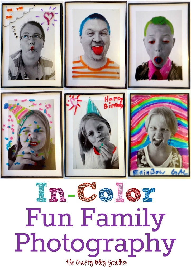 Make Family Photography fun when you can color right on top of the pictures using dry erase markers. A simple DIY craft tutorial idea.