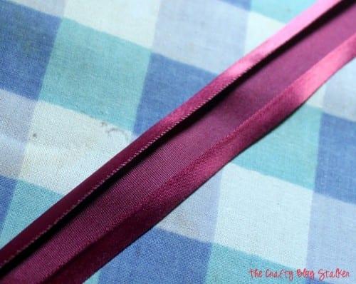 using satin ribbon as bias tape