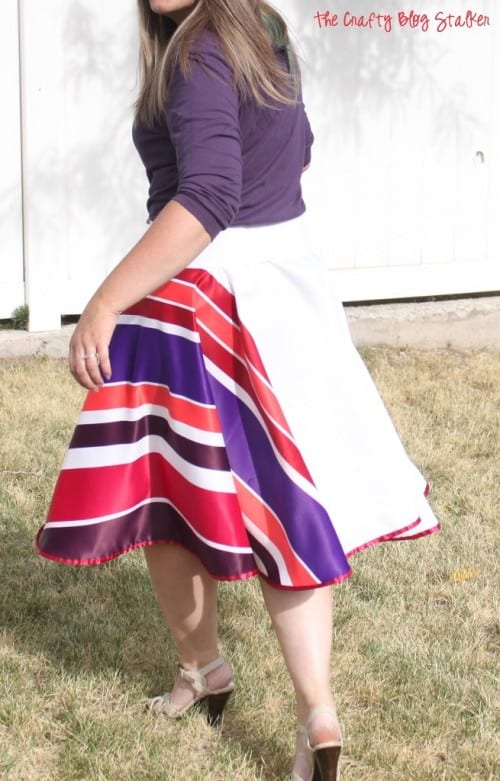 finished skirt worn by a woman outdoors