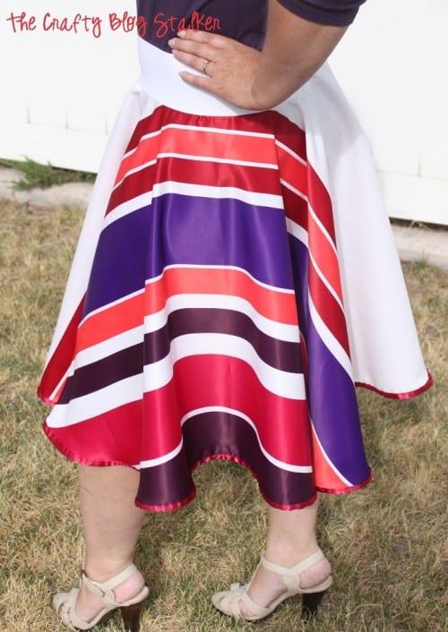 finished strip circle skirt