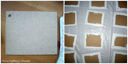 edges of chipboard rectangles painted white