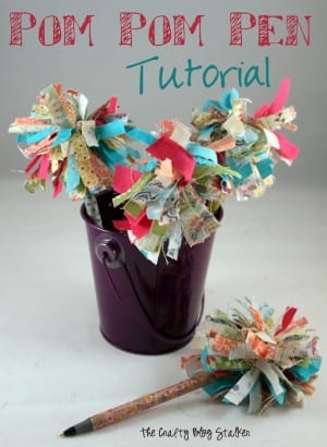 Learn how to make pom pom pens using this step by step tutorial. These fancy pens make great teacher gifts or are a fun kids craft with fabric or yarn.