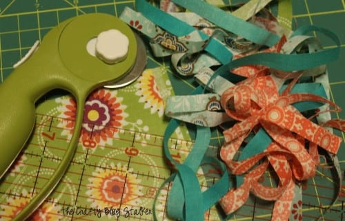fabric strips and a rotary cutter. supplies used to make project