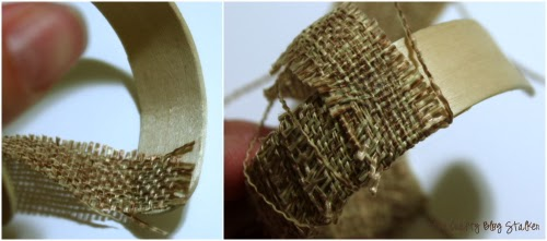 wrapping the napkin ring with burlap ribbon