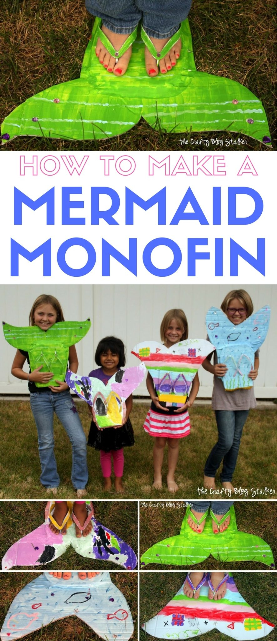 Learn how to make a mermaid monofin. Inspired by The Little Mermaid, a simple DIY craft tutorial idea for pretend play and dress up.