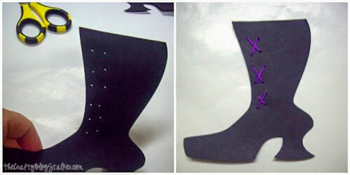 adding stitches to the witch boots