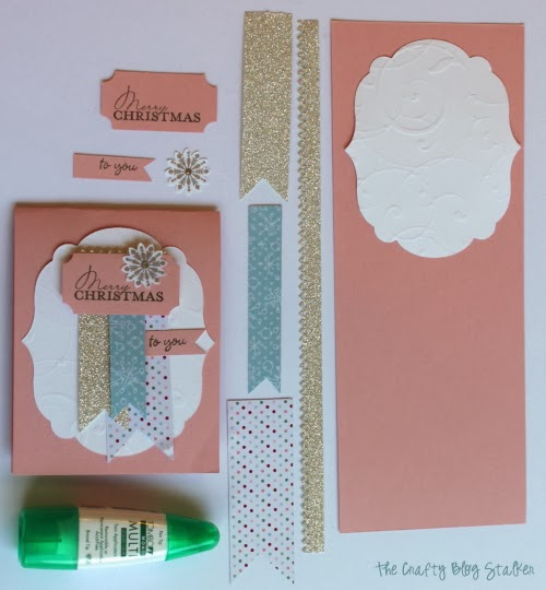 paper pieces used for easy christmas card making