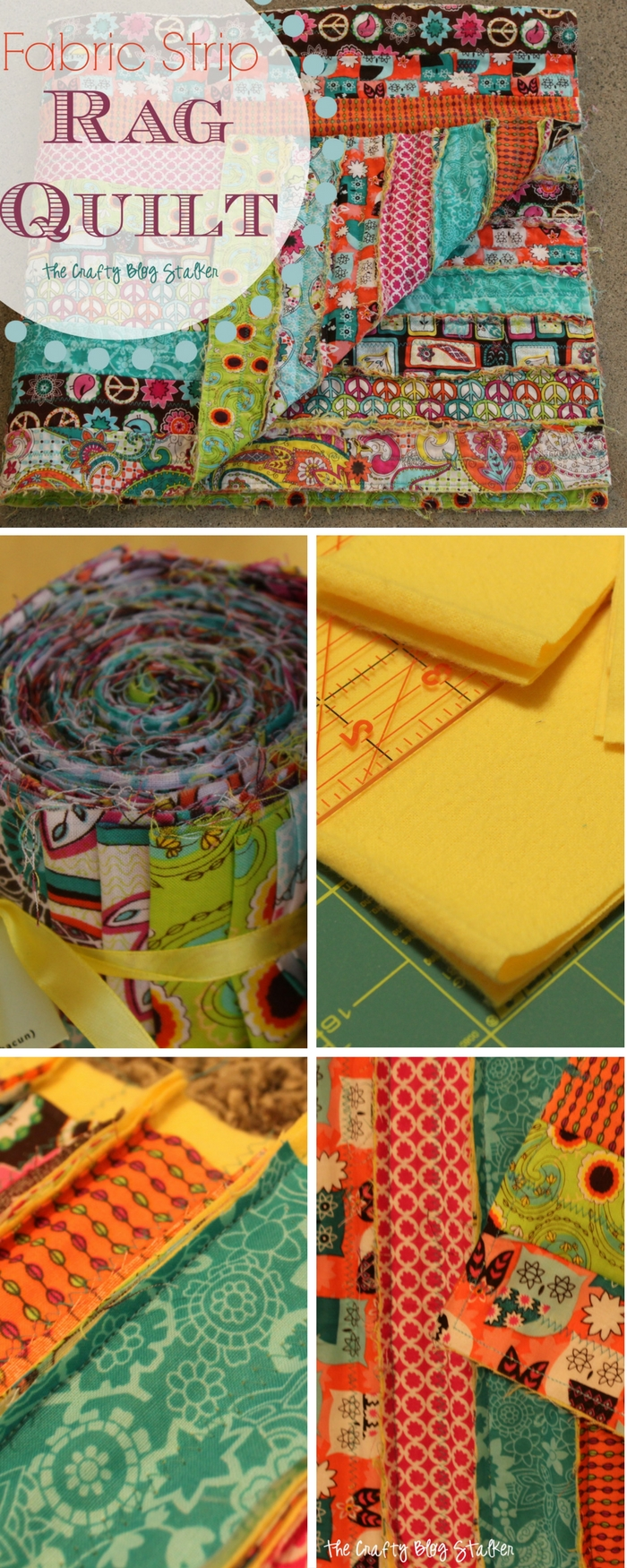 Learn how to sew a simple fabric strip rag quilt using jelly rolls. An easy DIY craft tutorial idea that is perfect for beginner quilters.