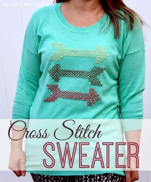 Add a DIY Cross Stitch design to a shirt or sweater! An easy DIY craft tutorial idea with a modern cross stitching pattern included!