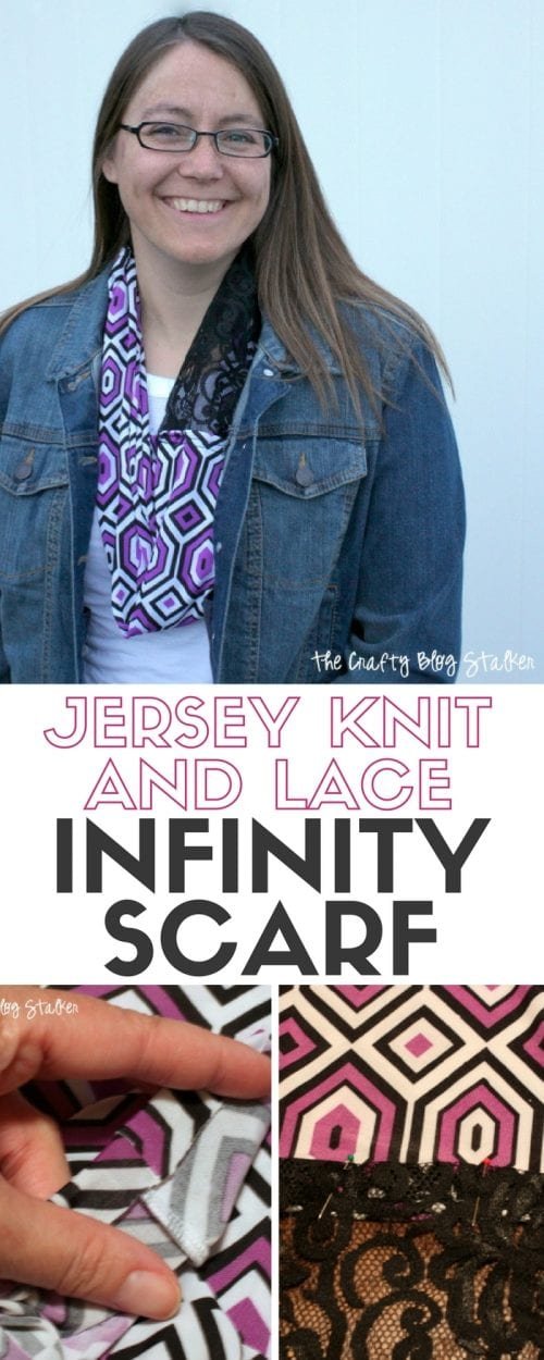 How to Make a Jersey Knit and Lace Infinity Scarf header image with a photo of the styled scarf and two tutorial pictures
