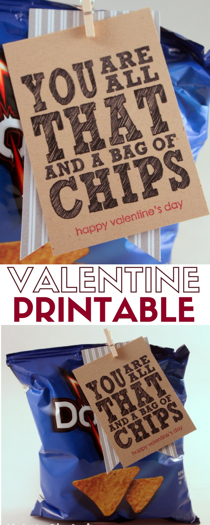 Create last minute Valentines for friends, coworkers, and classmates with this Free Valentine Printable. Easy DIY craft tutorial idea.