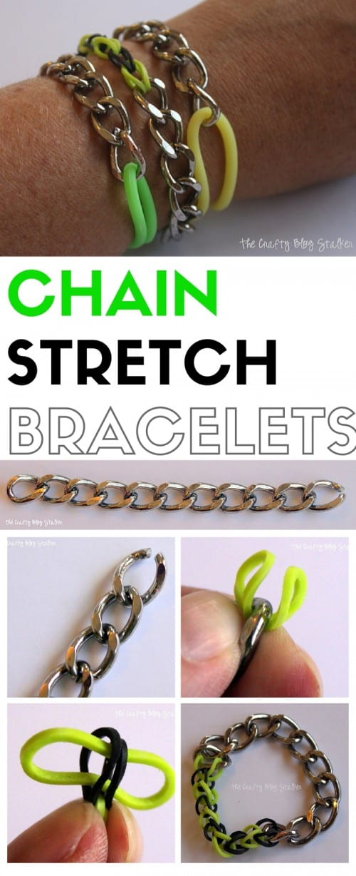 Combine Metal and Rubber in these super cute Chain Stretch Bracelets.