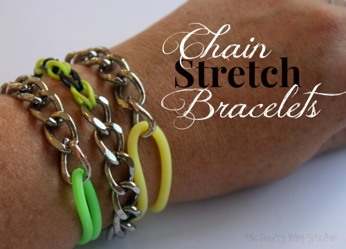 Combine Metal and Rubber in these super cute Chain Stretch Bracelets. Click over to my blog to learn how!