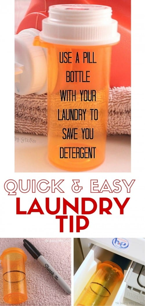 Are you going through liquid laundry soap too fast? Use this easy laundry tip to save you liquid laundry detergent and time. An easy DIY tutorial idea.