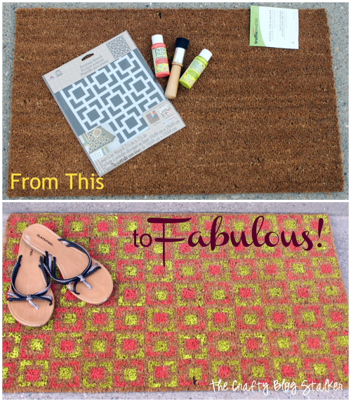 Turn a boring doormat into a fabulous Stenciled Door Mat with only a little bit of paint and a stencil. Click over to the blog to learn how.