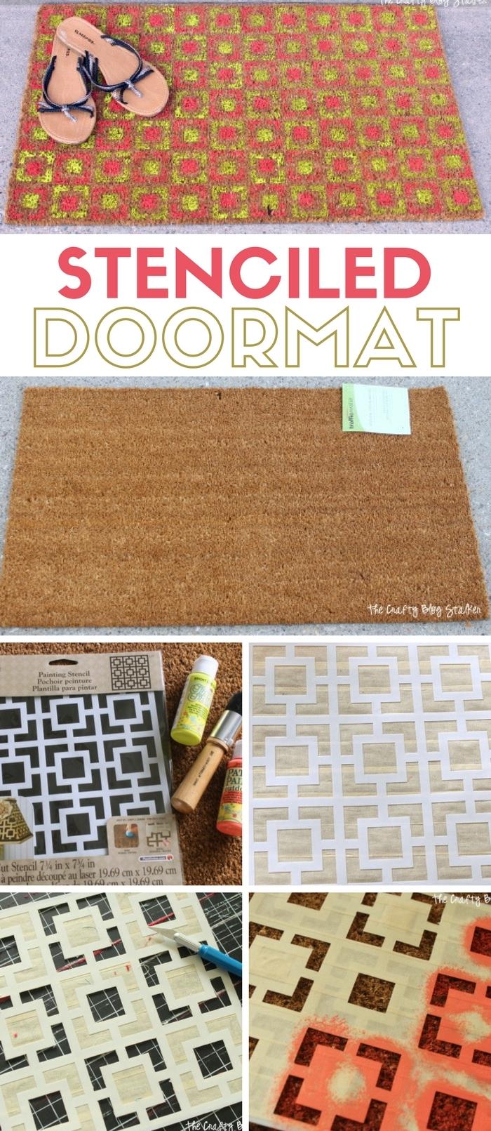Stenciled Door Mat   Doormat   DIY   Front Door   Outdoor Decor Ideas   Paint