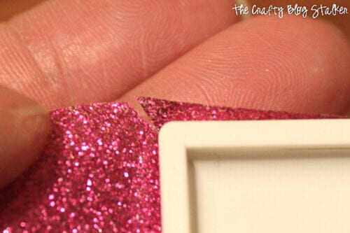 clipping the corner of the glitter duck tape