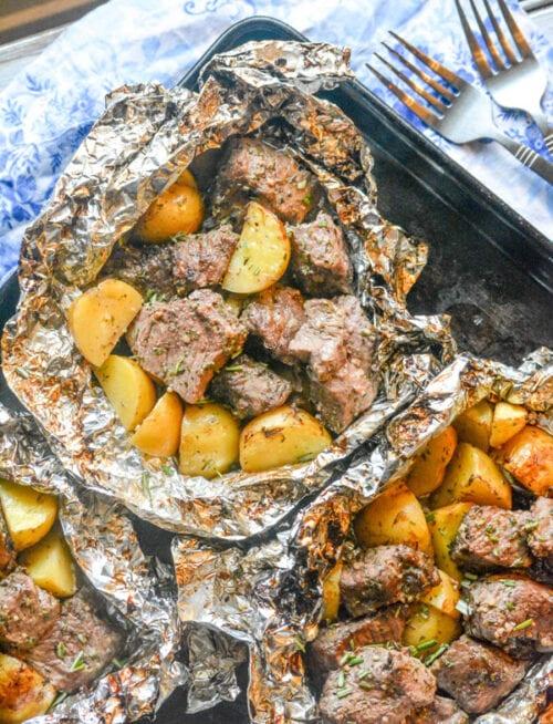 Garlic Steak Potato Foil Packs