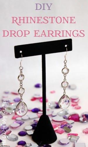 DIY Rhinestone Drop Earrings