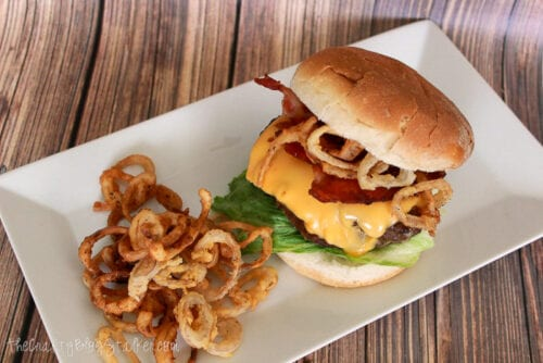 double bacon cheeseburger with onion rings