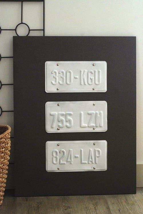 21 Easy Crafts for Adults to Make with 5 Supplies or Less, featured by top US craft blog, The Crafty Blog Stalker: license plate wall art