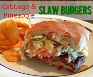 This recipe for Cabbage and Pineapple Slaw Burgers will quickly become a backyard BBQ favorite.