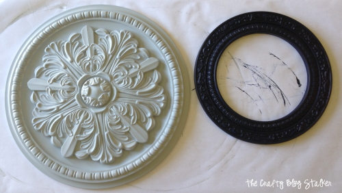 Painted ceiling medallions add design and unique wall decor for your home. A simple DIY craft tutorial idea to add style to your home decor