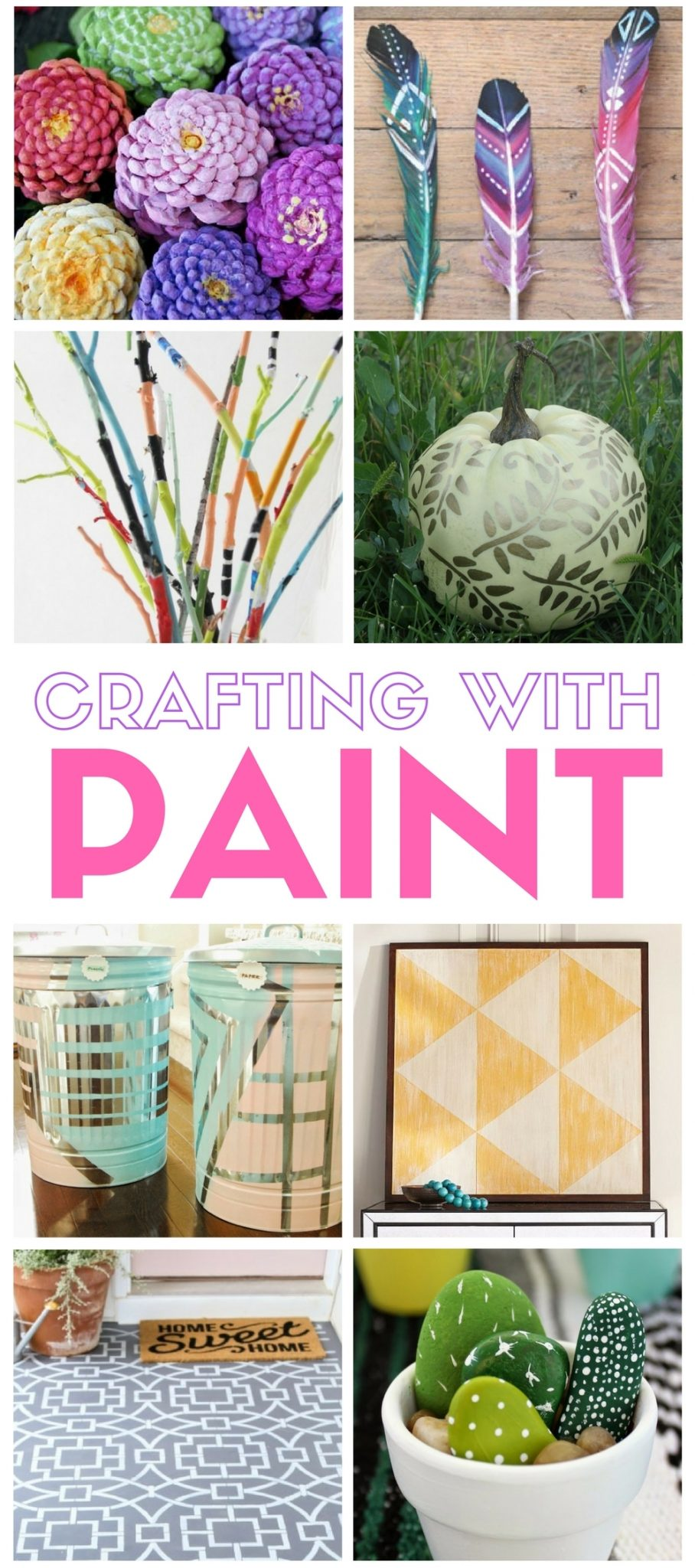 Crafting with paint is a collection of fun and simple DIY craft tutorial ideas. Paint is an easy way to add color and style to any craft project.