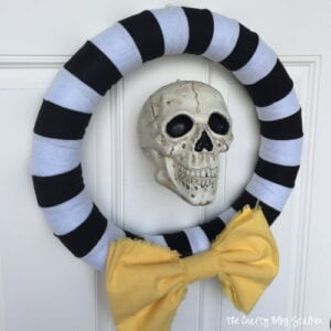 How to Make a Striped Halloween Wreath | Easy DIY Craft Tutorial Idea | For Front Door | Entry | Halloween Decor | Skull |