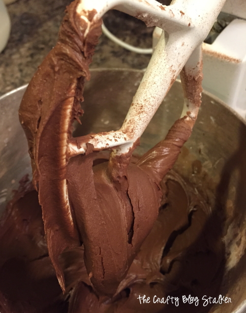 chocolate frosting on a mixing beater