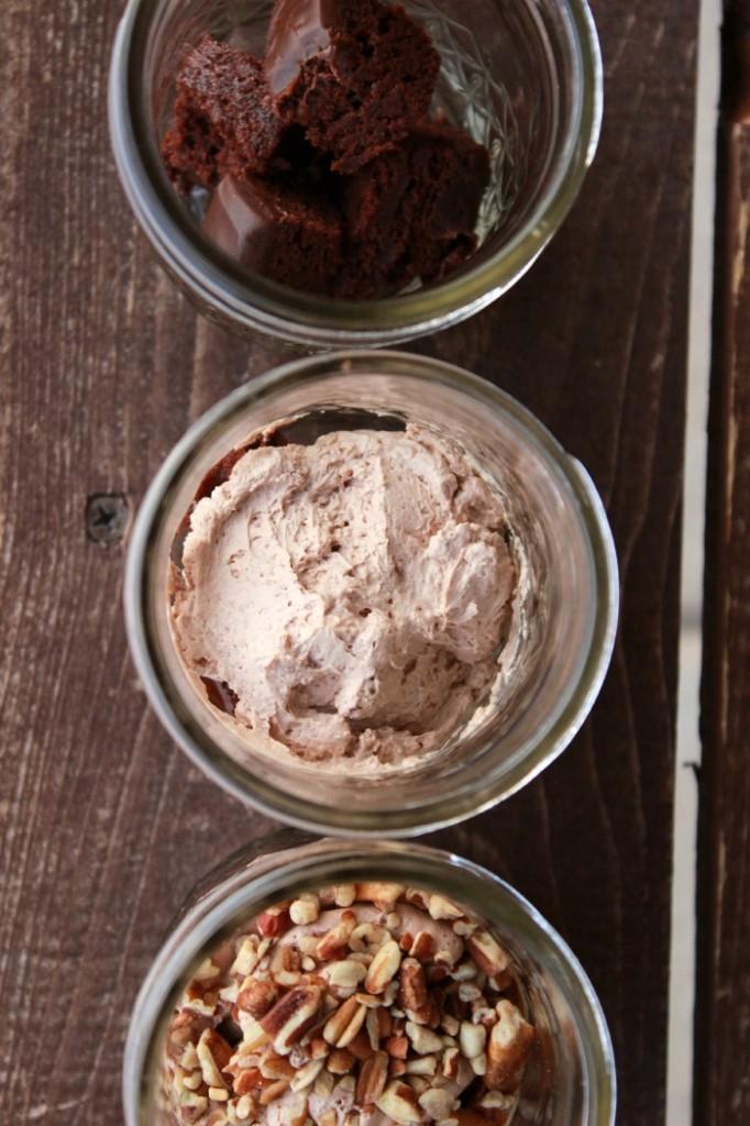 Chocolate Brownie Trifle layers