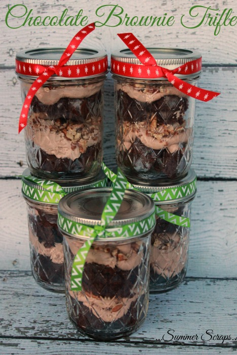 Chocolate Brownie Trifle Gift in a Jar Dessert Recipe