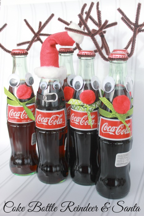 coke bottle reindeer and santa