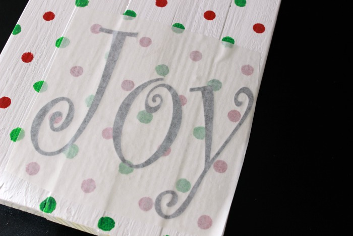 Joy Christmas Wood Sign vinyl