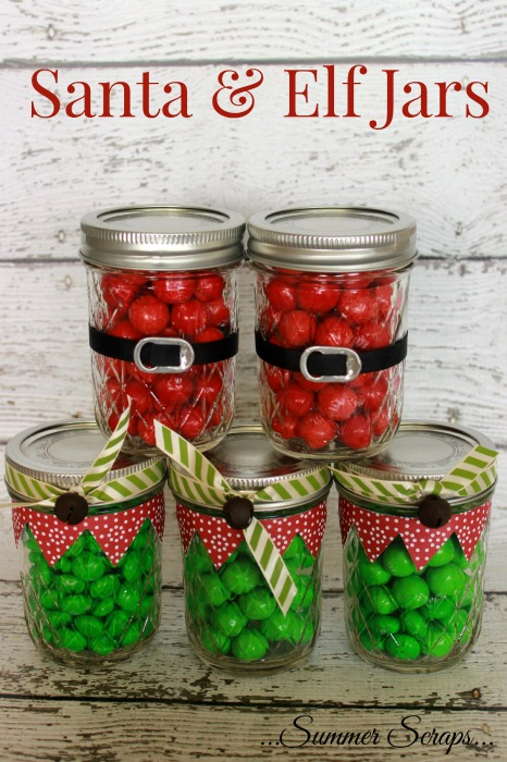 santa and elf jars
