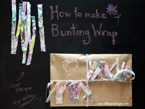 Make beautiful fabric bunting gift wrap when gift giving. An easy DIY craft tutorial idea that shows how to be creative with your gift wrapping.