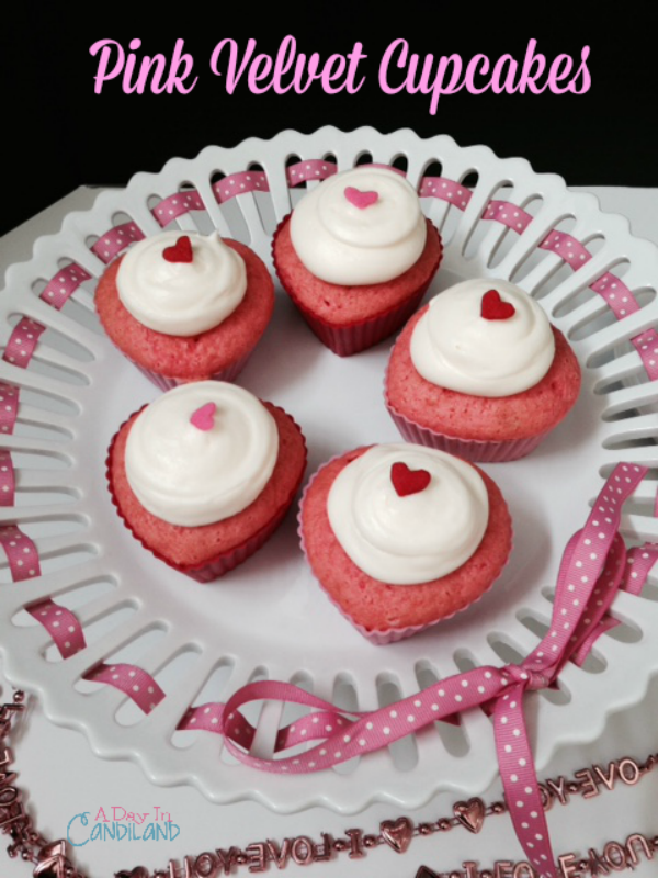 Pink Velvet Cupcakes on footed pedestal plate